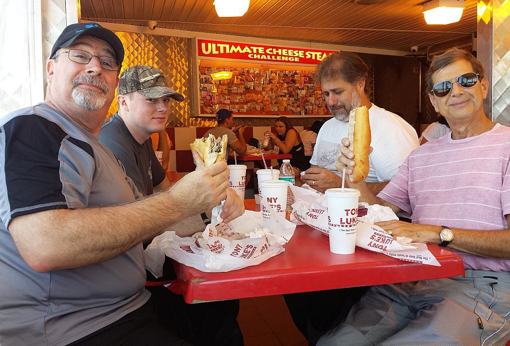 Cheese Steak Challenge in Philly. CLOCKWISE: Dan Thompson, Colin Thompson, Jerry Rouvais, Harold Gantz